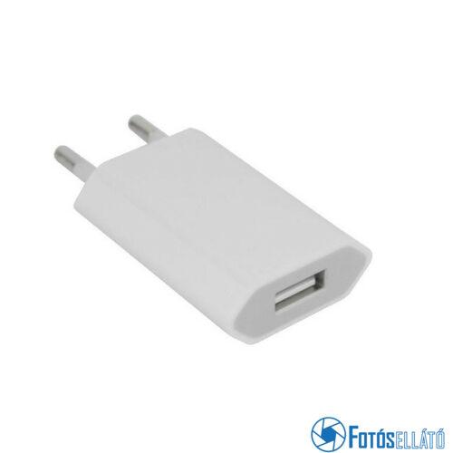 Hálózati töltő adapter USB 1000MAH, fehér