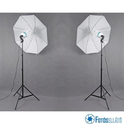 P&V Folyamatos fényű fotó izzós dupla ernyős szett - 2x 200W/800W (5500K)