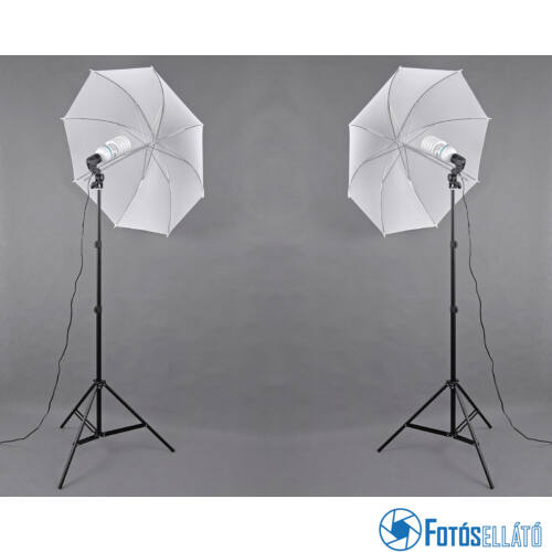 P&V Folyamatos fényű fotó izzós dupla ernyős szett - 2x 85W/400W (5500K)